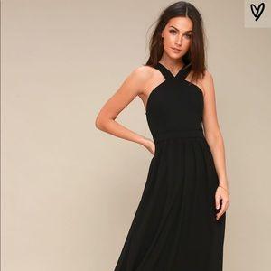 NWT Black chiffon Lulus long dress